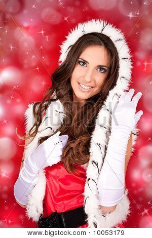 Sexy Santa Woman On Shiny Background