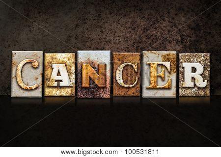 Cancer Letterpress Concept On Dark Background