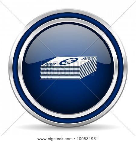 money blue glossy web icon modern computer design with double metallic silver border on white background with shadow for web and mobile app round internet button for business usage