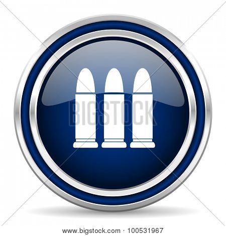 ammunition blue glossy web icon modern computer design with double metallic silver border on white background with shadow for web and mobile app round internet button for business usage