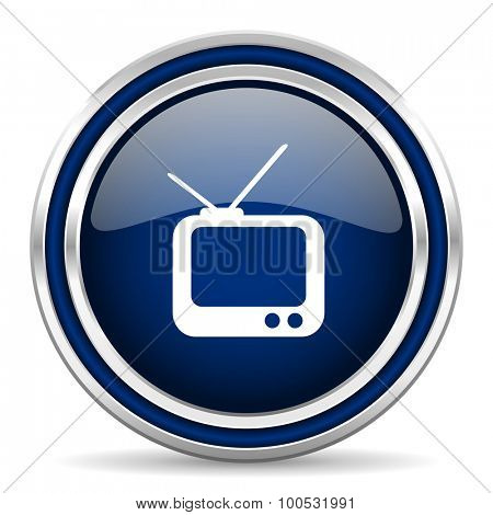 tv blue glossy web icon modern computer design with double metallic silver border on white background with shadow for web and mobile app round internet button for business usage
