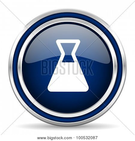 laboratory blue glossy web icon modern computer design with double metallic silver border on white background with shadow for web and mobile app round internet button for business usage