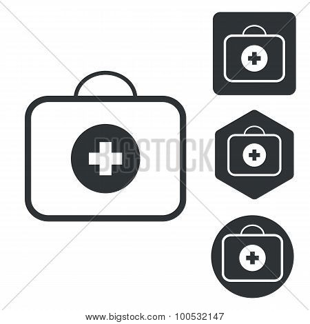 First-aid kit icon set, monochrome