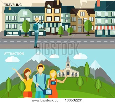 Tourism travelling horizontal flat banners set
