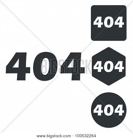 404 icon set, monochrome