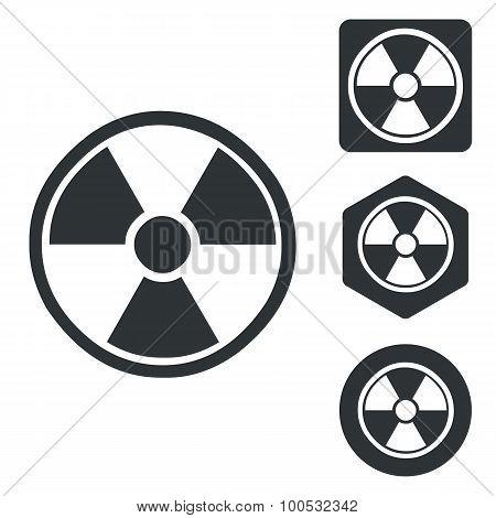 Radiohazard icon set monochrome