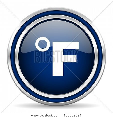 fahrenheit blue glossy web icon modern computer design with double metallic silver border on white background with shadow for web and mobile app round internet button for business usage