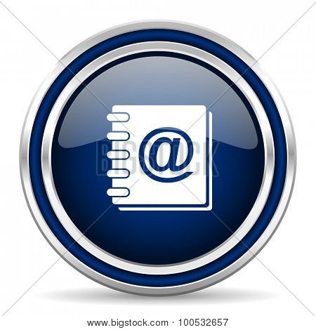 address book blue glossy web icon modern computer design with double metallic silver border on white background with shadow for web and mobile app round internet button for business usage