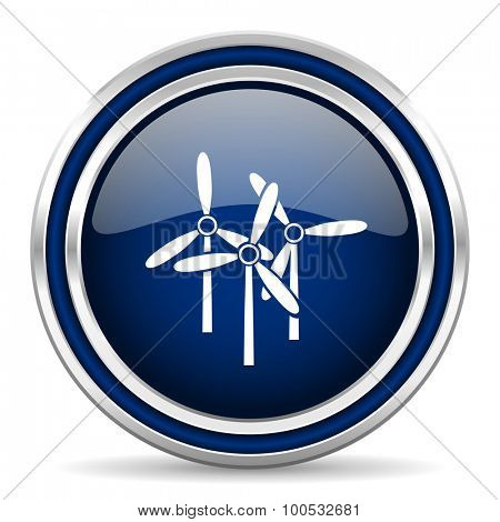 windmill blue glossy web icon modern computer design with double metallic silver border on white background with shadow for web and mobile app round internet button for business usage