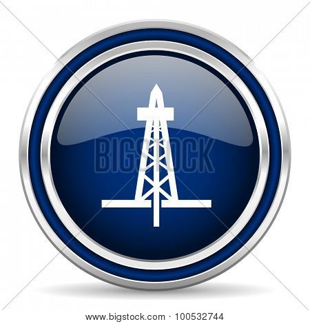 drilling blue glossy web icon modern computer design with double metallic silver border on white background with shadow for web and mobile app round internet button for business usage
