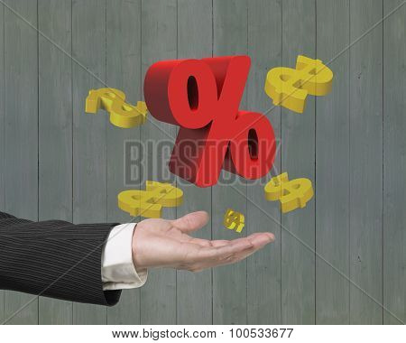 Man Hand Showing Red Percentage Sign With Golden Dollar Signs