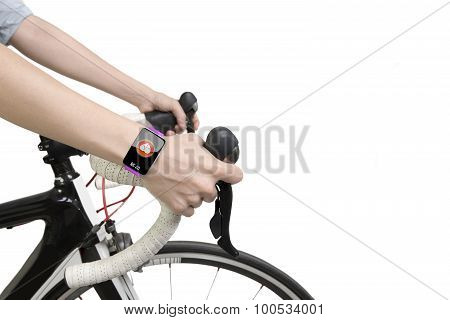 Biking Woman Hands Wearing Health Sensor Smart Watch