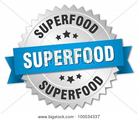 Superfood 3D Silver Badge With Blue Ribbon