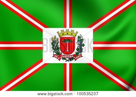 Flag Of Curitiba City, Brazil.