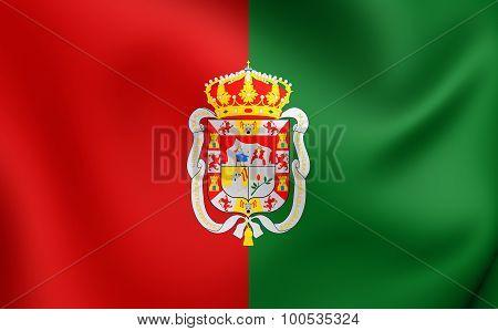 Flag Of Granada City, Spain.