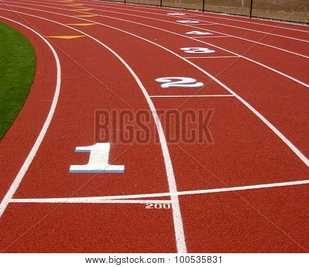 Start of Track and Field Race Track