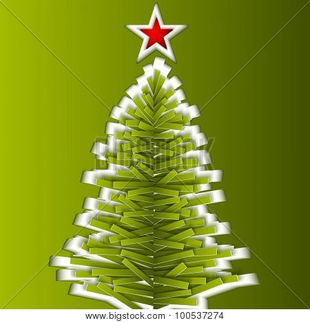 Green cutout paper vector Christmas tree