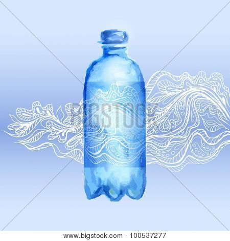 Transparent watercolor bottle of water with floral pattern doodles. Vector illustration