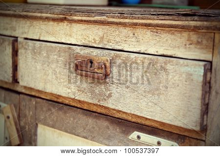 Old wooden drawer, close-up