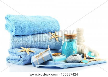 Spa treatments isolated on white. Sea spa concept