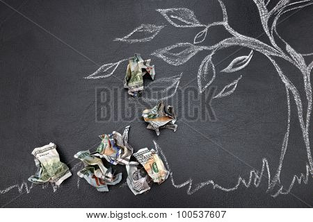 Money tree drawing on blackboard close up