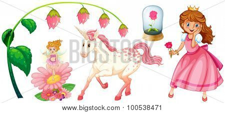 Fairytales set with princess and unicorn illustration