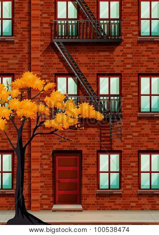 Fire escape of apartment building illustration
