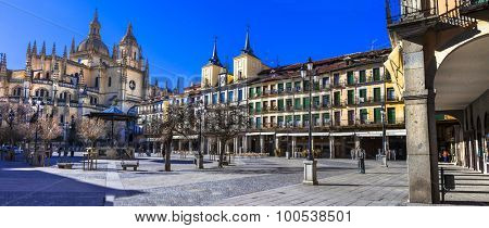 panoramic view of Plaza Mayor in Segovia, Spain