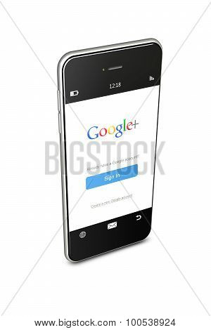 Poland, Gdansk - 8Th Of August 2015. Mobile Phone With Google Plus Sign In Page Isolated Over White