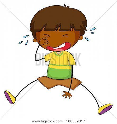 Little boy crying alone illustration