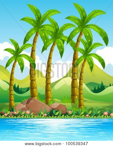 Coconut trees by the ocean illustration