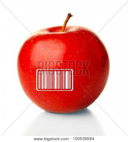 Red apple with barcode isolated on white