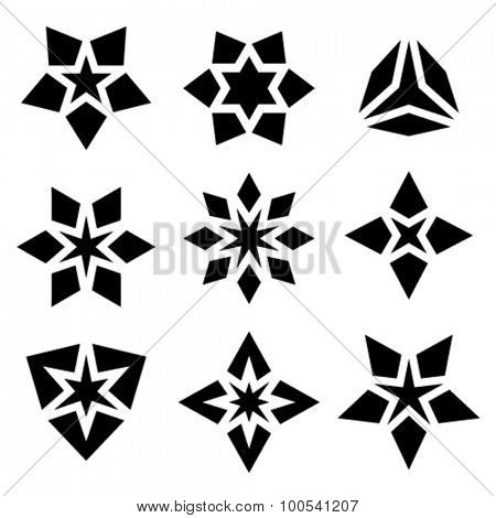 vector black star symbols