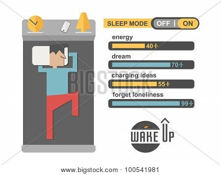 Sleep Mode Man In Concept Phone Charging Vector