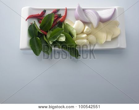 fresh ingredient chilli,onion,garlic and other prepared for cook