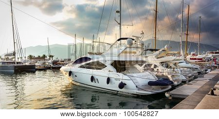 Budva, Montenegro, September 2, 2015, Ancient Center Of Budva, Yachts In Port In A Sun Set.
