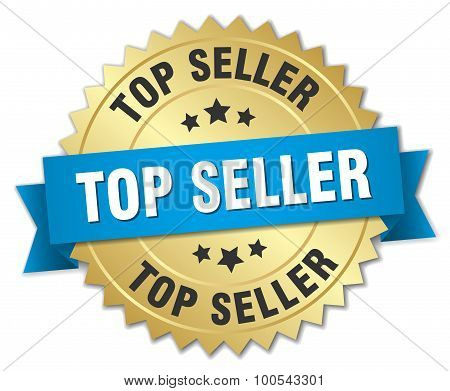 Top Seller 3D Gold Badge With Blue Ribbon
