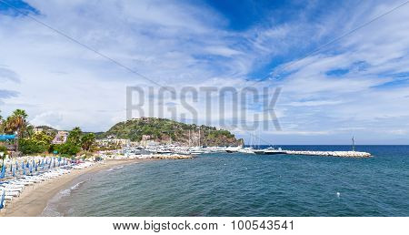 Empty Sandy Beach Of Lacco Ameno, Ischia Island