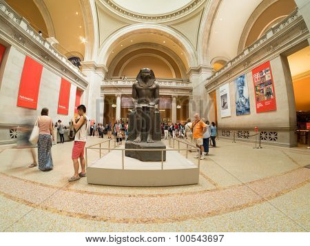 NEW YORK,USA - AUGUST 14,2015 : Sculpture of an egyptian pharaoh at the lobby of the Metropolitan Museum of Art in Manhattan