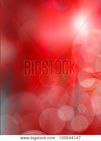 Abstract Red Flickering Lights, Abstract Festive Background With Bokeh Defocused Lights.
