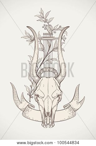 Vintage styled print design with a lyre-horn animal skull. Editable vector illustration.