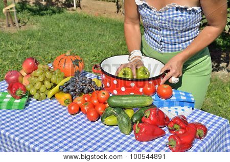 Lady And Fruits And Vegetables