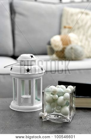 Decorations on table on Modern sofa  background