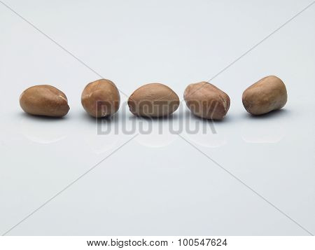 Peanuts in a row on white ground