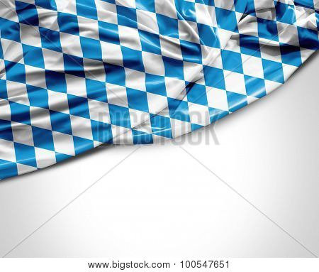 Bavarian waving flag on white background