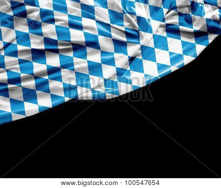 Bavarian waving flag on black background