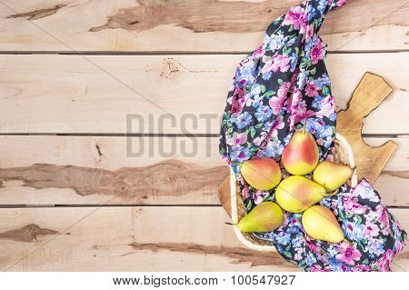 Fresh seasonal pears  on the wooden backround