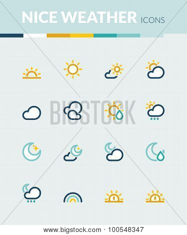 Nice Weather  Colorful Flat Icons