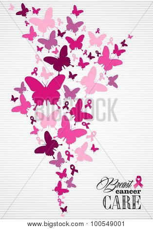 Breast cancer awareness butterfly ribbon poster