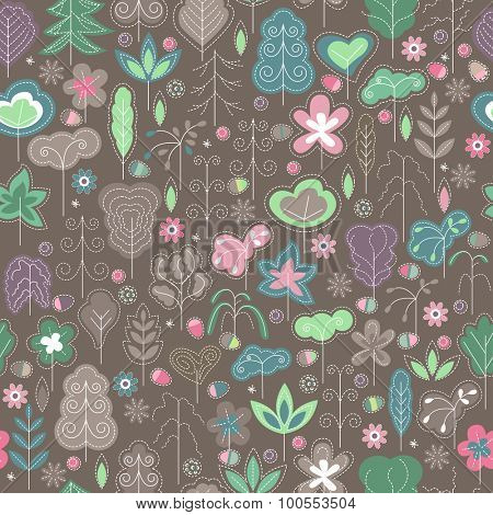 Seamless spring pattern with stylized trees. Dark background